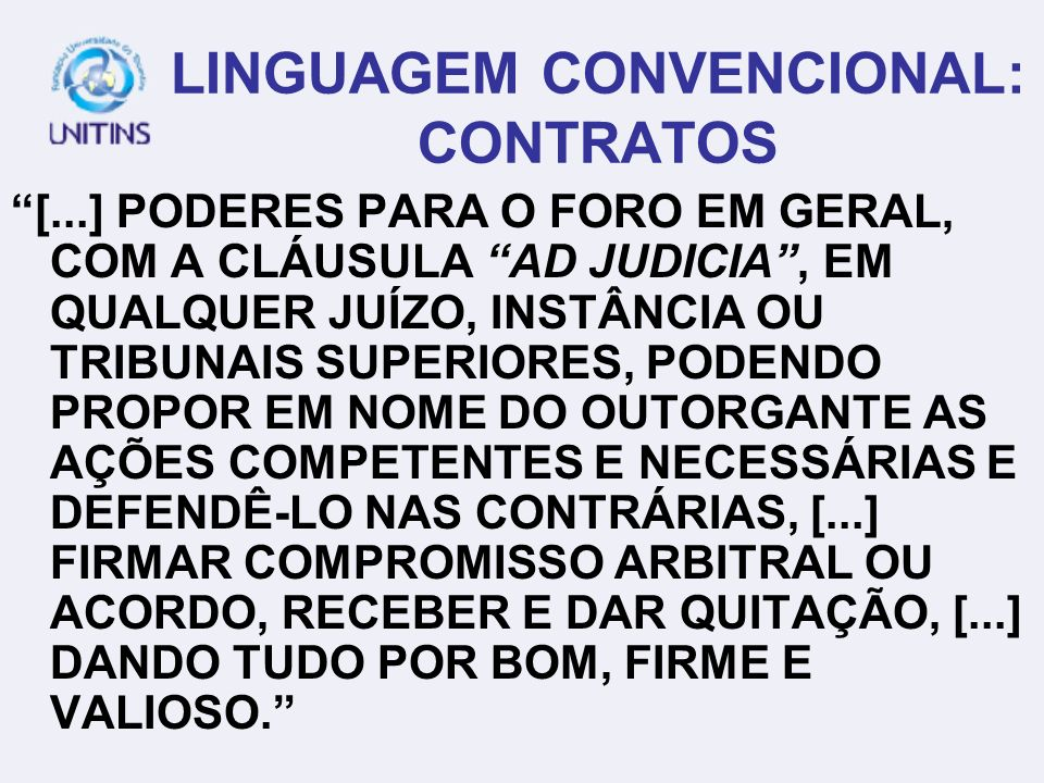LINGUAGEM CONVENCIONAL: CONTRATOS