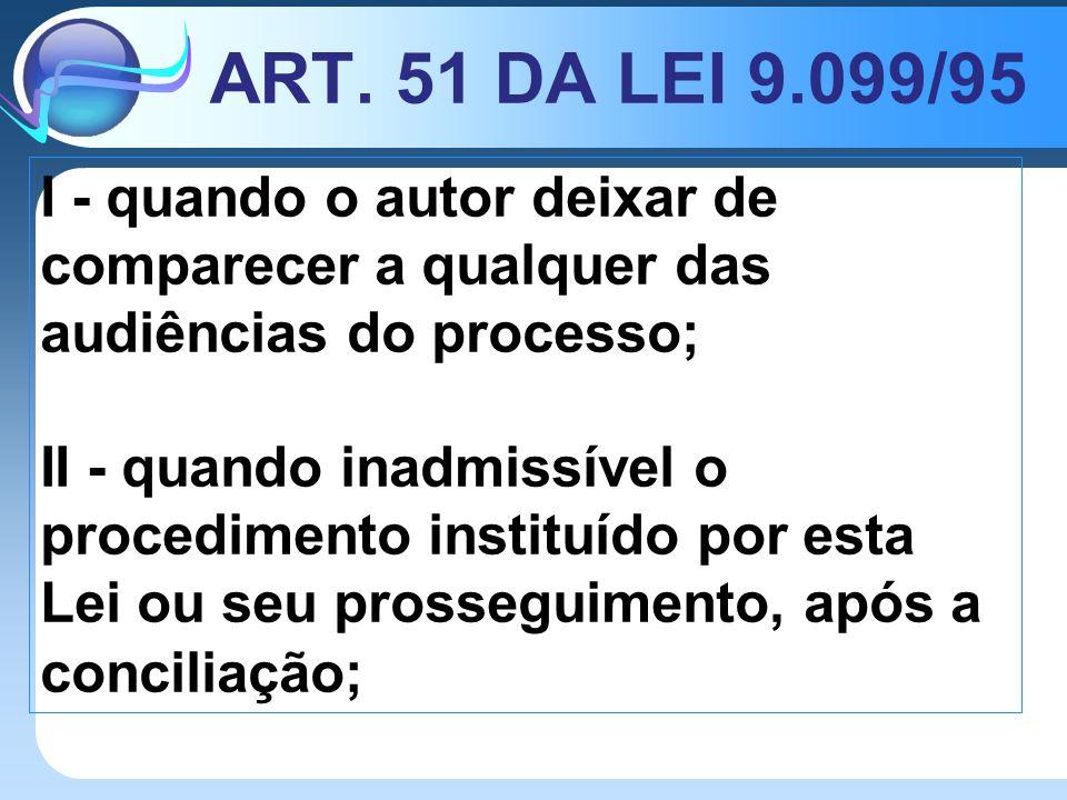 ART. 51 DA LEI 9.099/95 I - quando o autor deixar de comparecer a qualquer das audiências do processo;