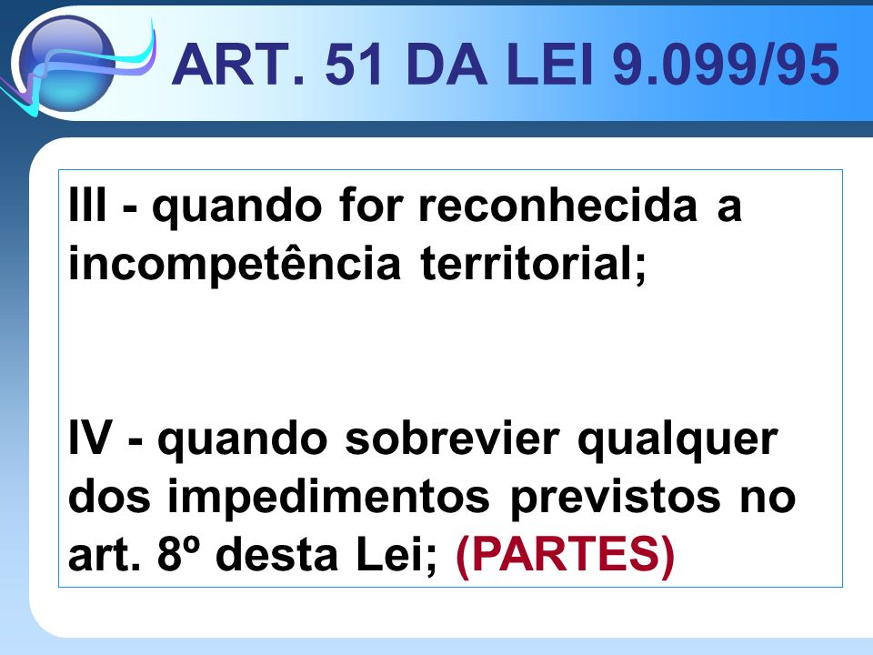 ART. 51 DA LEI 9.099/95 III - quando for reconhecida a incompetência territorial;