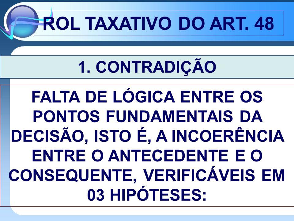 ROL TAXATIVO DO ART. 48 1. CONTRADIÇÃO