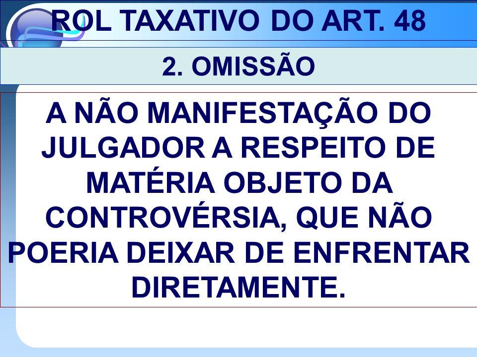 ROL TAXATIVO DO ART. 48 2. OMISSÃO.
