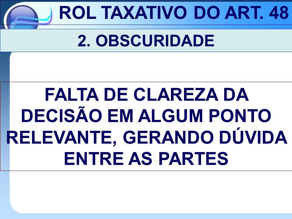 ROL TAXATIVO DO ART. 48 2. OBSCURIDADE.