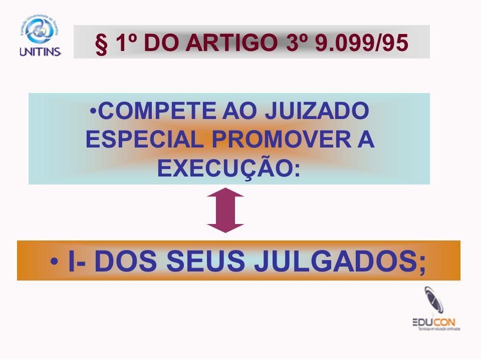 COMPETE AO JUIZADO ESPECIAL PROMOVER A EXECUÇÃO:
