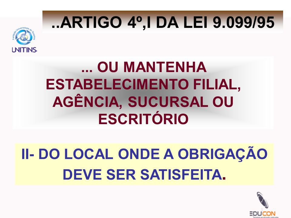 II- DO LOCAL ONDE A OBRIGAÇÃO DEVE SER SATISFEITA.