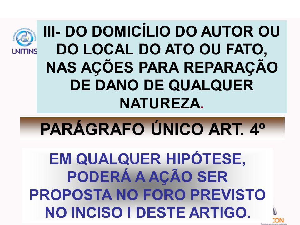 III- DO DOMICÍLIO DO AUTOR OU DO LOCAL DO ATO OU FATO, NAS AÇÕES PARA REPARAÇÃO DE DANO DE QUALQUER NATUREZA.