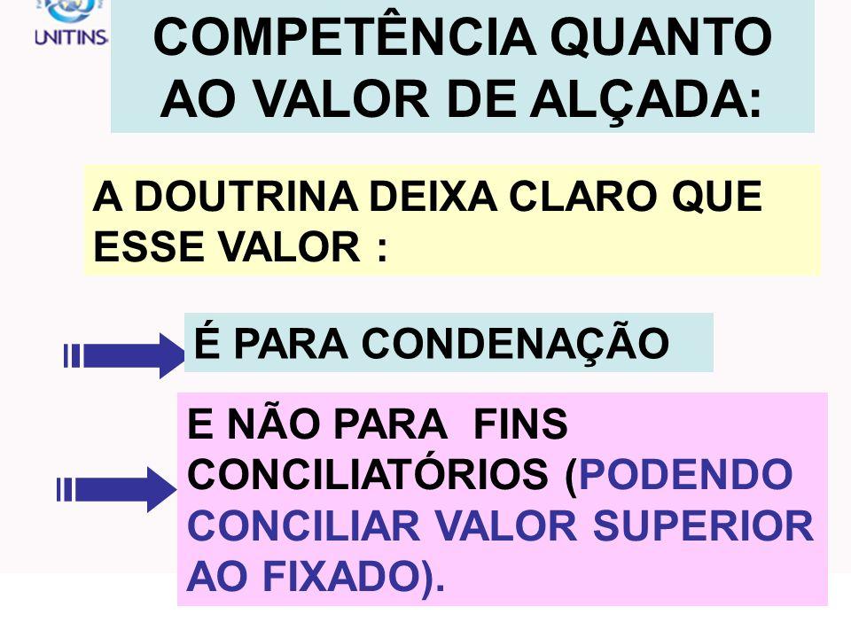 COMPETÊNCIA QUANTO AO VALOR DE ALÇADA: