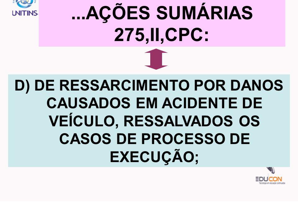 ...AÇÕES SUMÁRIAS 275,II,CPC: D) DE RESSARCIMENTO POR DANOS CAUSADOS EM ACIDENTE DE VEÍCULO, RESSALVADOS OS CASOS DE PROCESSO DE EXECUÇÃO;
