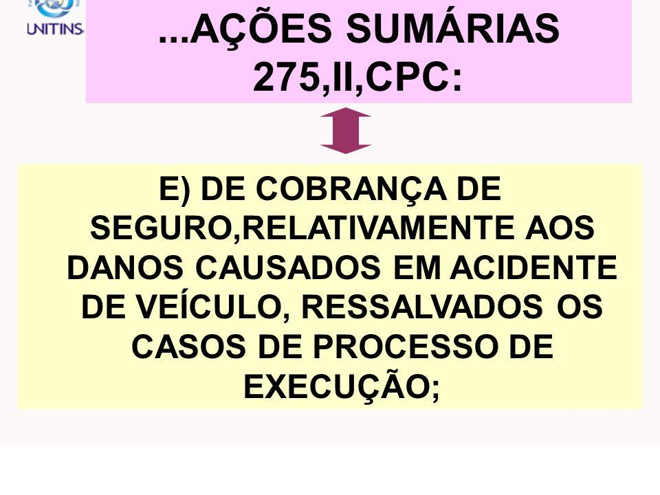 ...AÇÕES SUMÁRIAS 275,II,CPC: