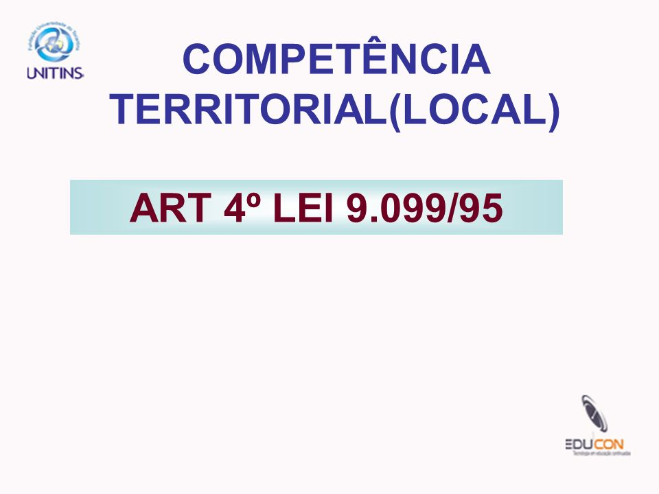 COMPETÊNCIA TERRITORIAL(LOCAL)