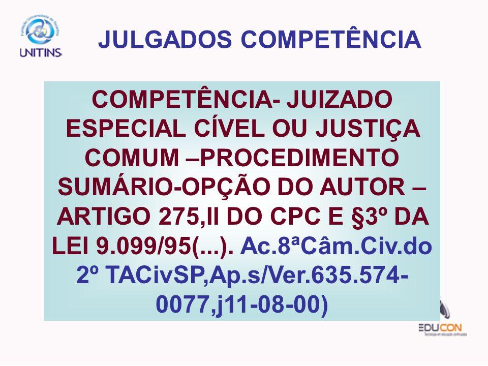 JULGADOS COMPETÊNCIA