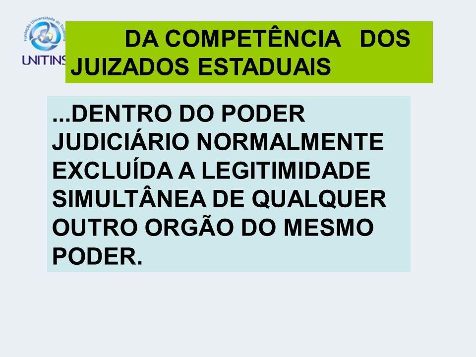 DA COMPETÊNCIA DOS JUIZADOS ESTADUAIS