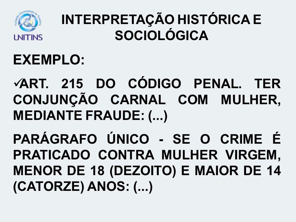 INTERPRETAÇÃO HISTÓRICA E SOCIOLÓGICA