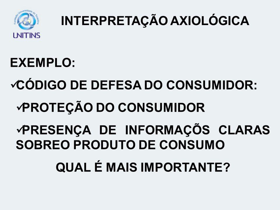 INTERPRETAÇÃO AXIOLÓGICA