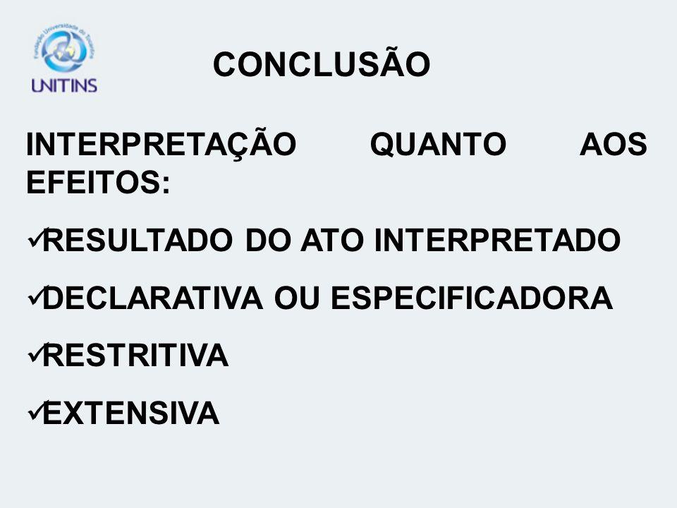 CONCLUSÃO INTERPRETAÇÃO QUANTO AOS EFEITOS: