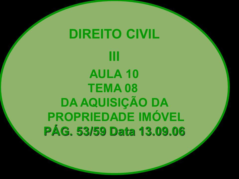 DIREITO CIVIL III AULA 10 TEMA 08 DA AQUISIÇÃO DA PROPRIEDADE IMÓVEL