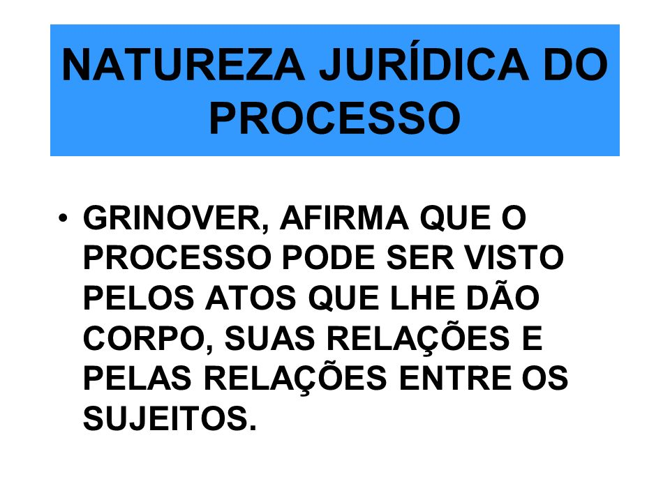 NATUREZA JURÍDICA DO PROCESSO