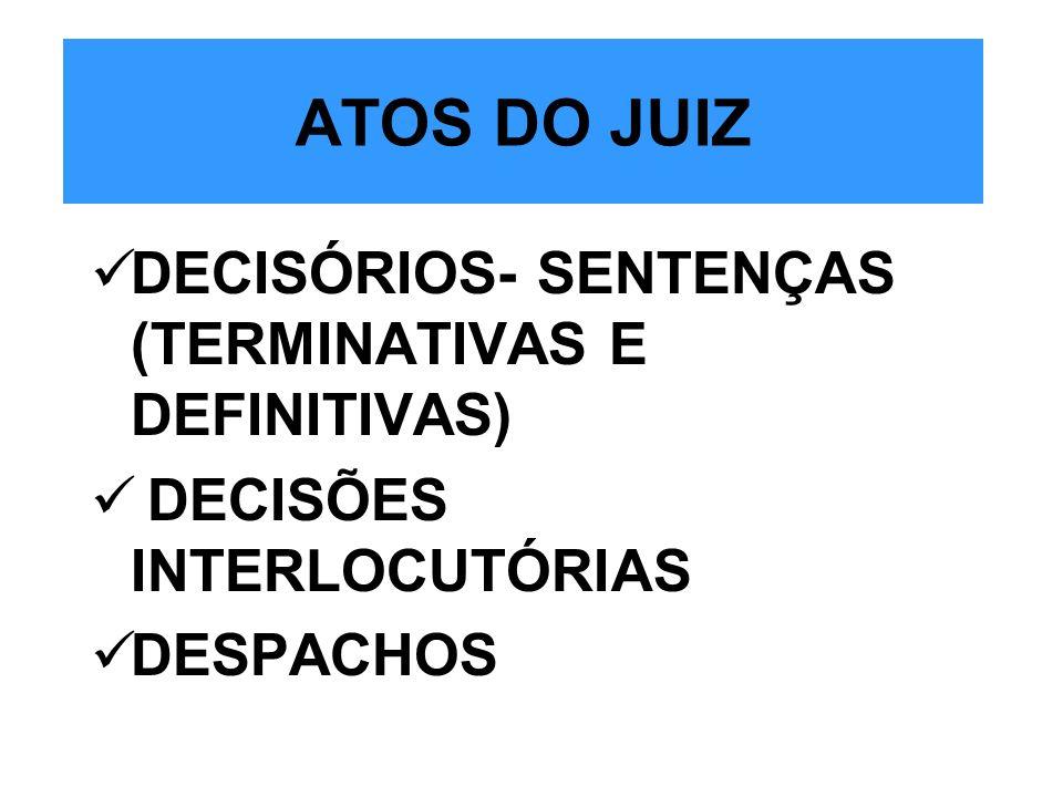 ATOS DO JUIZ DECISÓRIOS- SENTENÇAS (TERMINATIVAS E DEFINITIVAS)