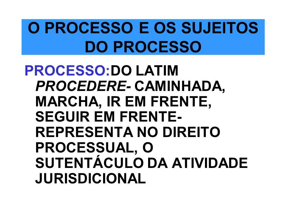 O PROCESSO E OS SUJEITOS DO PROCESSO