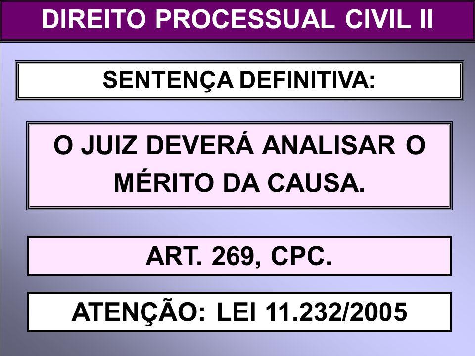 DIREITO PROCESSUAL CIVIL II O JUIZ DEVERÁ ANALISAR O MÉRITO DA CAUSA.