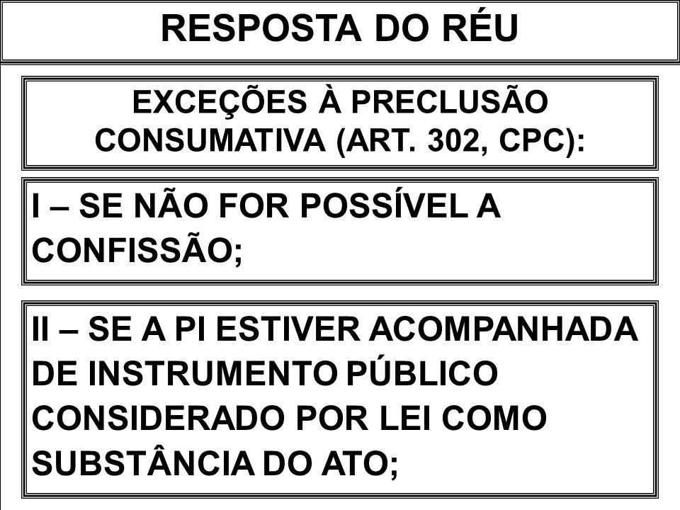 EXCEÇÕES À PRECLUSÃO CONSUMATIVA (ART. 302, CPC):