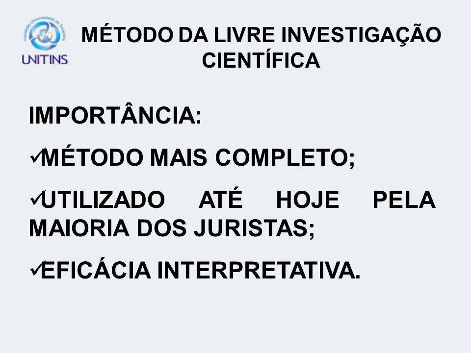 MÉTODO DA LIVRE INVESTIGAÇÃO CIENTÍFICA