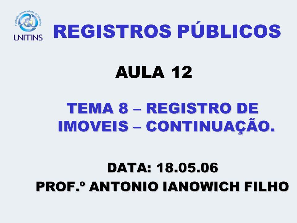 REGISTROS PÚBLICOS AULA 12 TEMA 8 – REGISTRO DE IMOVEIS – CONTINUAÇÃO.
