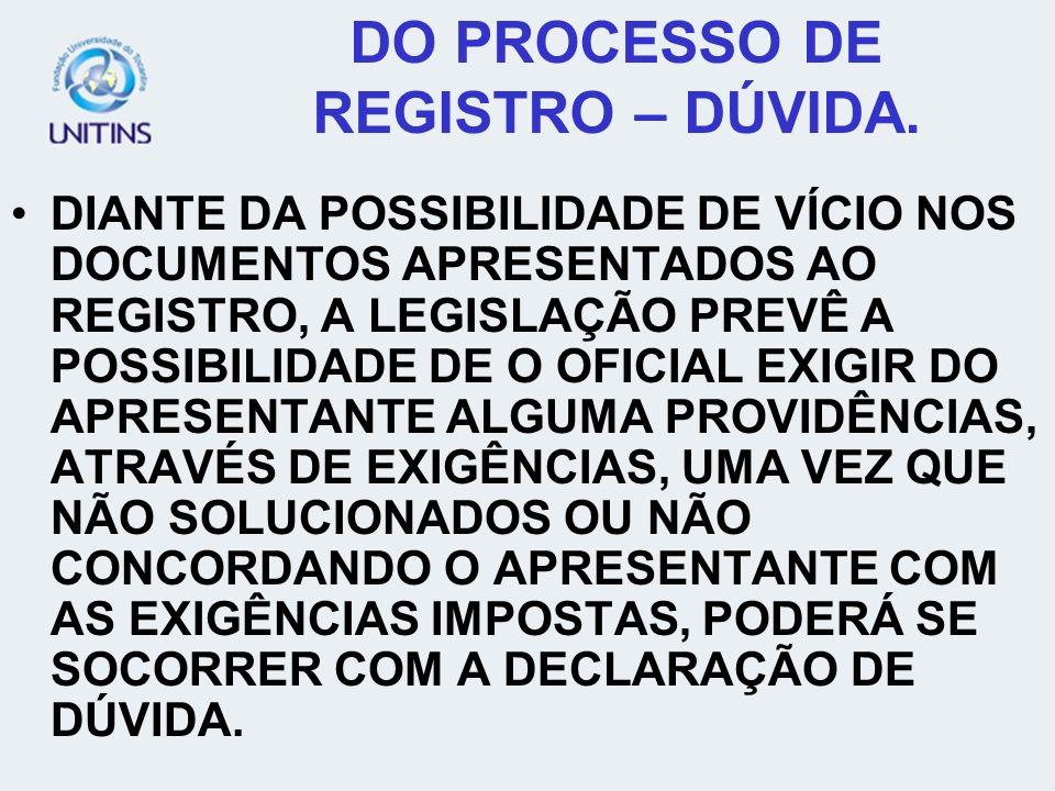 DO PROCESSO DE REGISTRO – DÚVIDA.