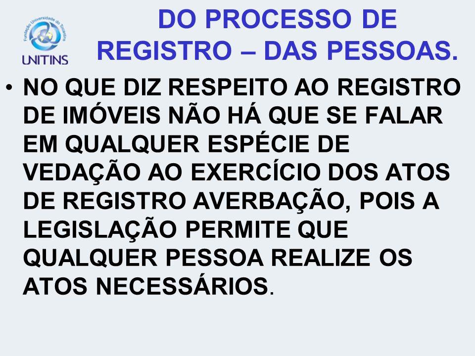 DO PROCESSO DE REGISTRO – DAS PESSOAS.