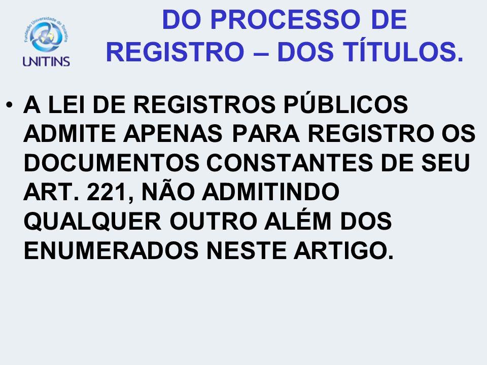 DO PROCESSO DE REGISTRO – DOS TÍTULOS.