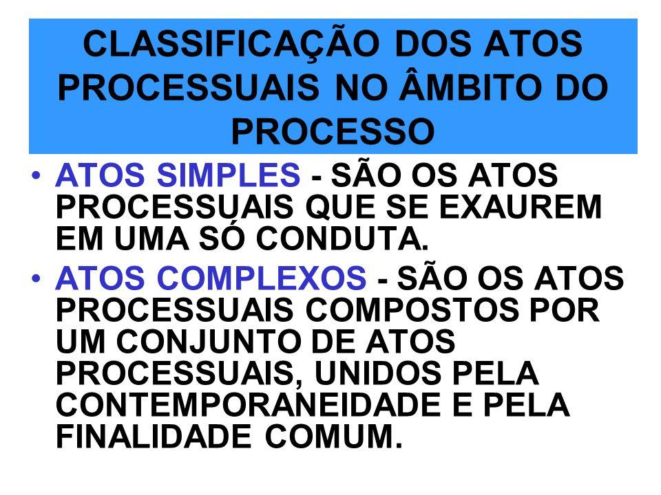 CLASSIFICAÇÃO DOS ATOS PROCESSUAIS NO ÂMBITO DO PROCESSO
