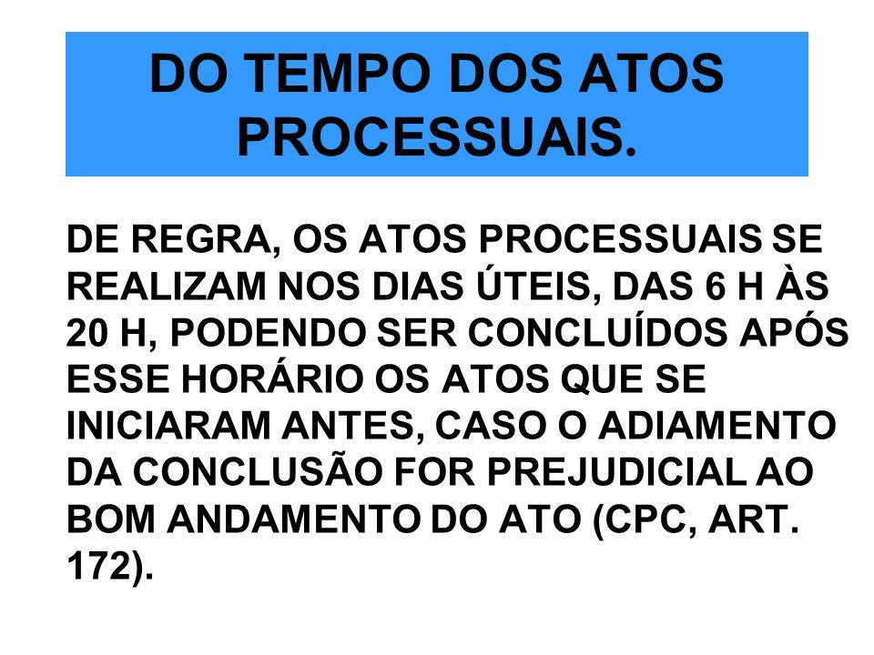 DO TEMPO DOS ATOS PROCESSUAIS.