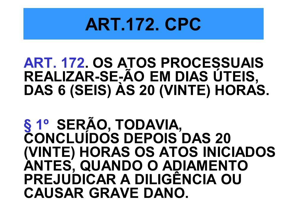 ART.172. CPCART. 172. OS ATOS PROCESSUAIS REALIZAR-SE-ÃO EM DIAS ÚTEIS, DAS 6 (SEIS) ÀS 20 (VINTE) HORAS.