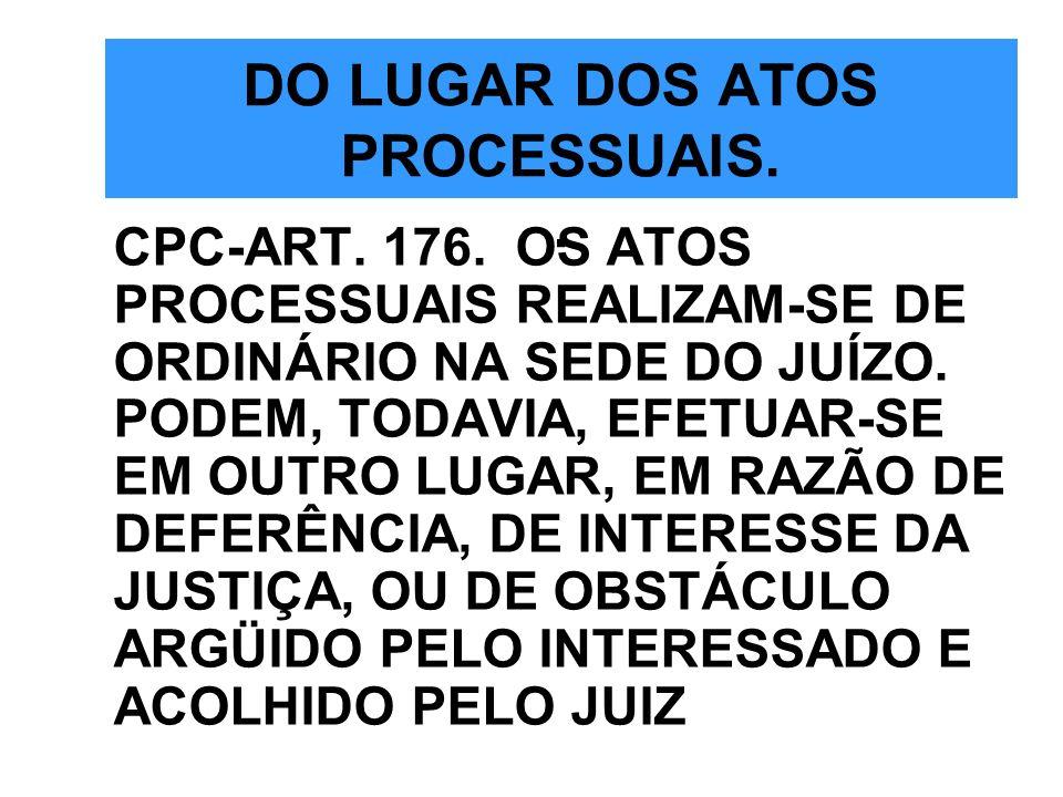 DO LUGAR DOS ATOS PROCESSUAIS. .