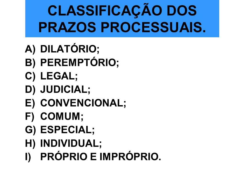 CLASSIFICAÇÃO DOS PRAZOS PROCESSUAIS.