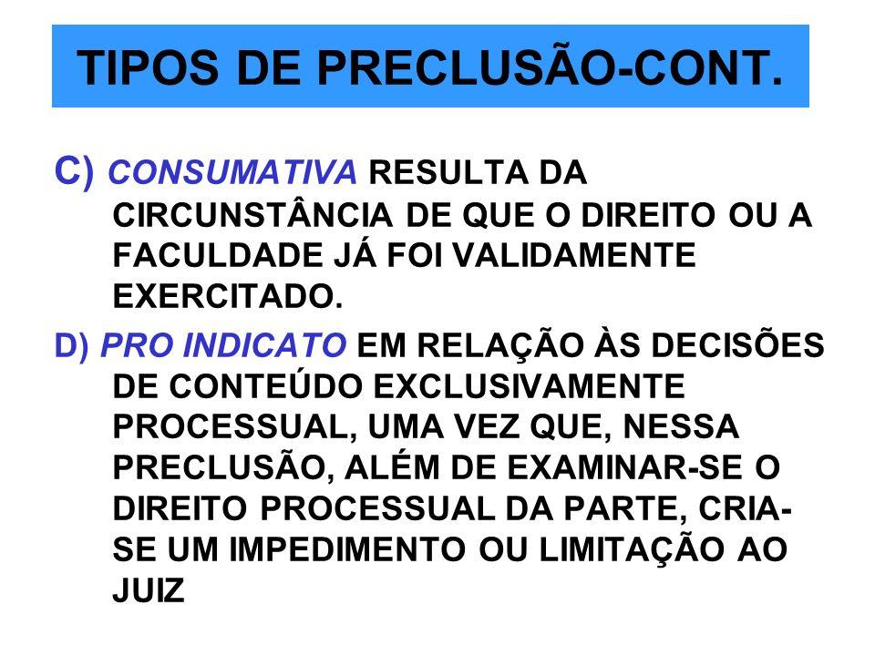 TIPOS DE PRECLUSÃO-CONT.