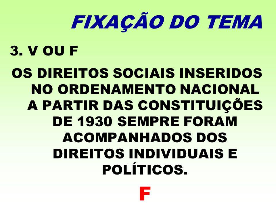 FIXAÇÃO DO TEMA 3. V OU F.