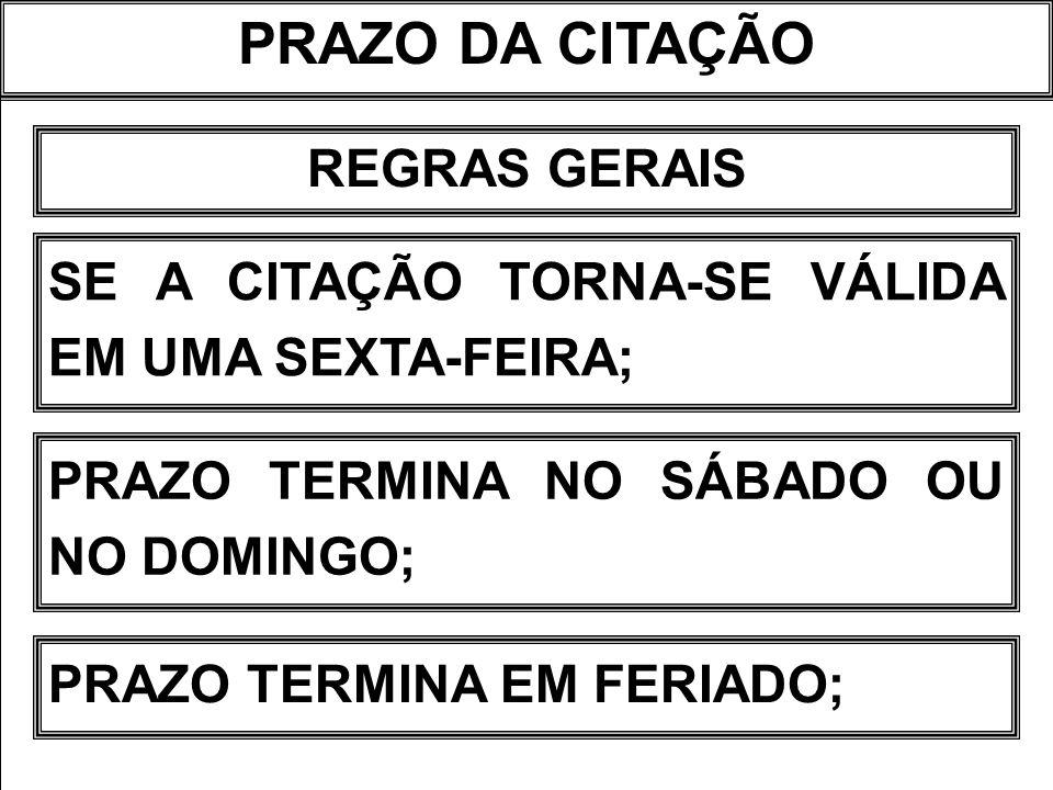 PRAZO DA CITAÇÃO REGRAS GERAIS