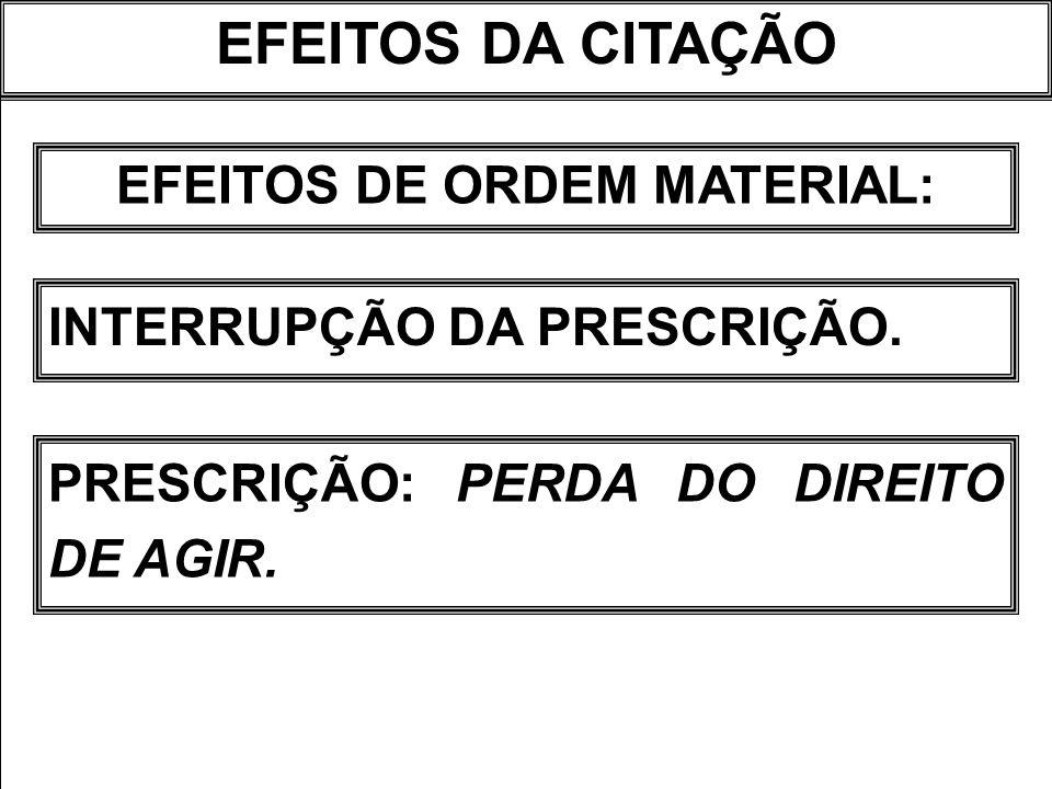 EFEITOS DE ORDEM MATERIAL: