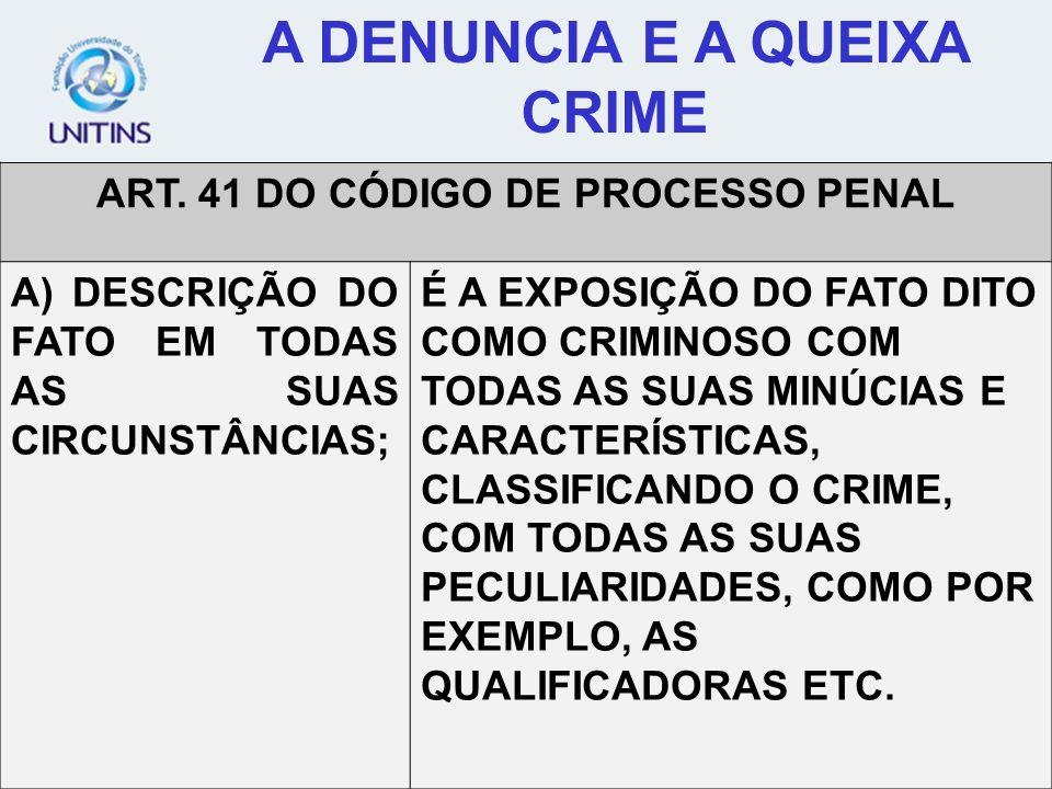 A DENUNCIA E A QUEIXA CRIME ART. 41 DO CÓDIGO DE PROCESSO PENAL