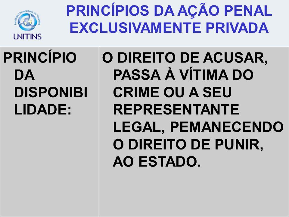 PRINCÍPIOS DA AÇÃO PENAL EXCLUSIVAMENTE PRIVADA