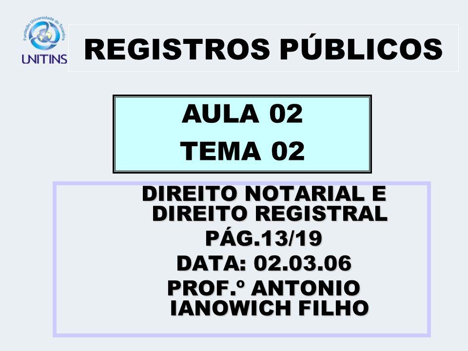 REGISTROS PÚBLICOS AULA 02 TEMA 02