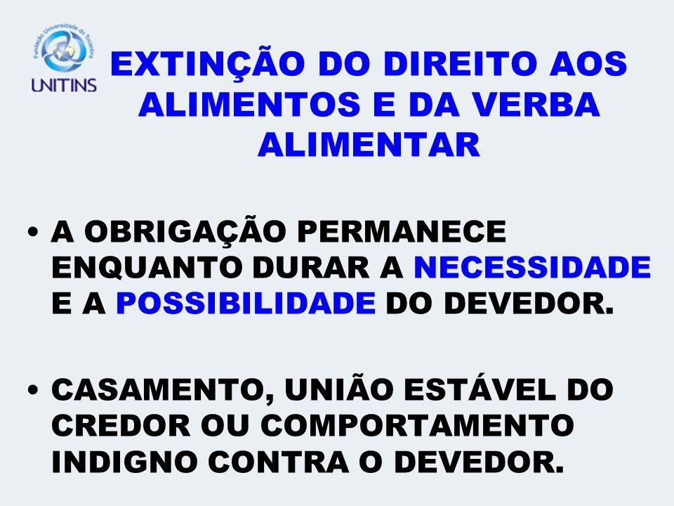 EXTINÇÃO DO DIREITO AOS ALIMENTOS E DA VERBA ALIMENTAR
