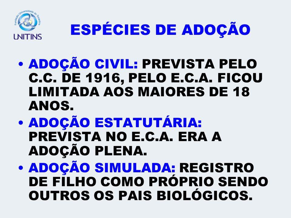 ESPÉCIES DE ADOÇÃO ADOÇÃO CIVIL: PREVISTA PELO C.C. DE 1916, PELO E.C.A. FICOU LIMITADA AOS MAIORES DE 18 ANOS.