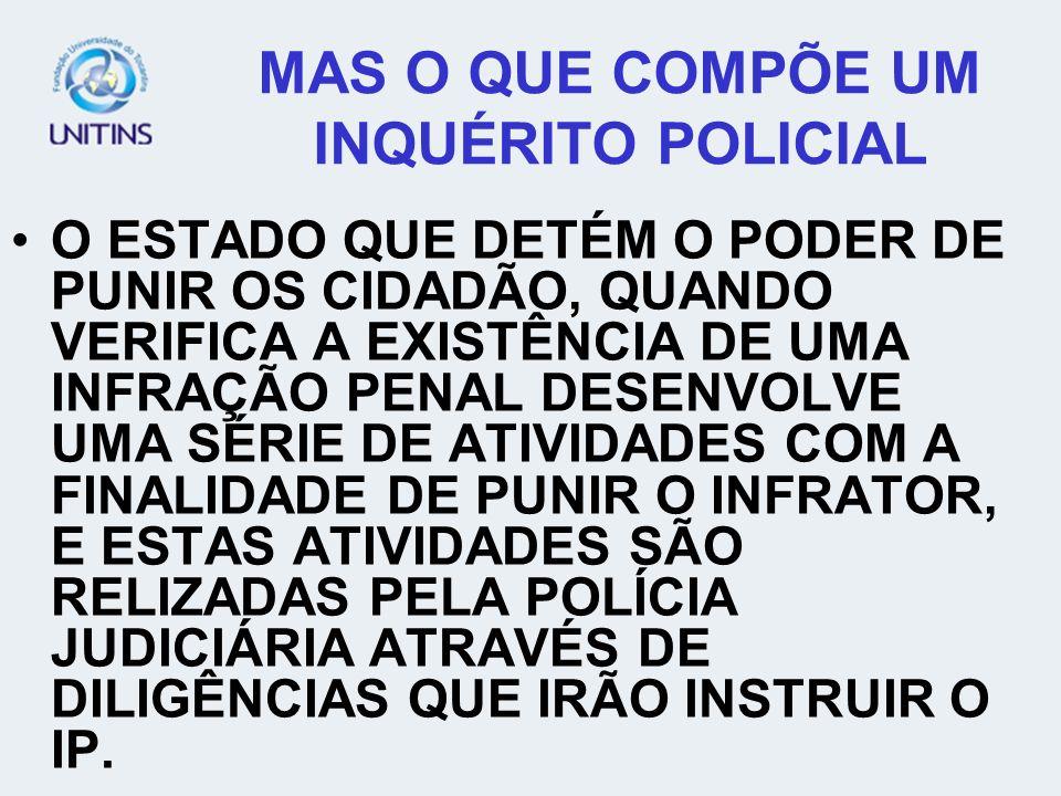 MAS O QUE COMPÕE UM INQUÉRITO POLICIAL
