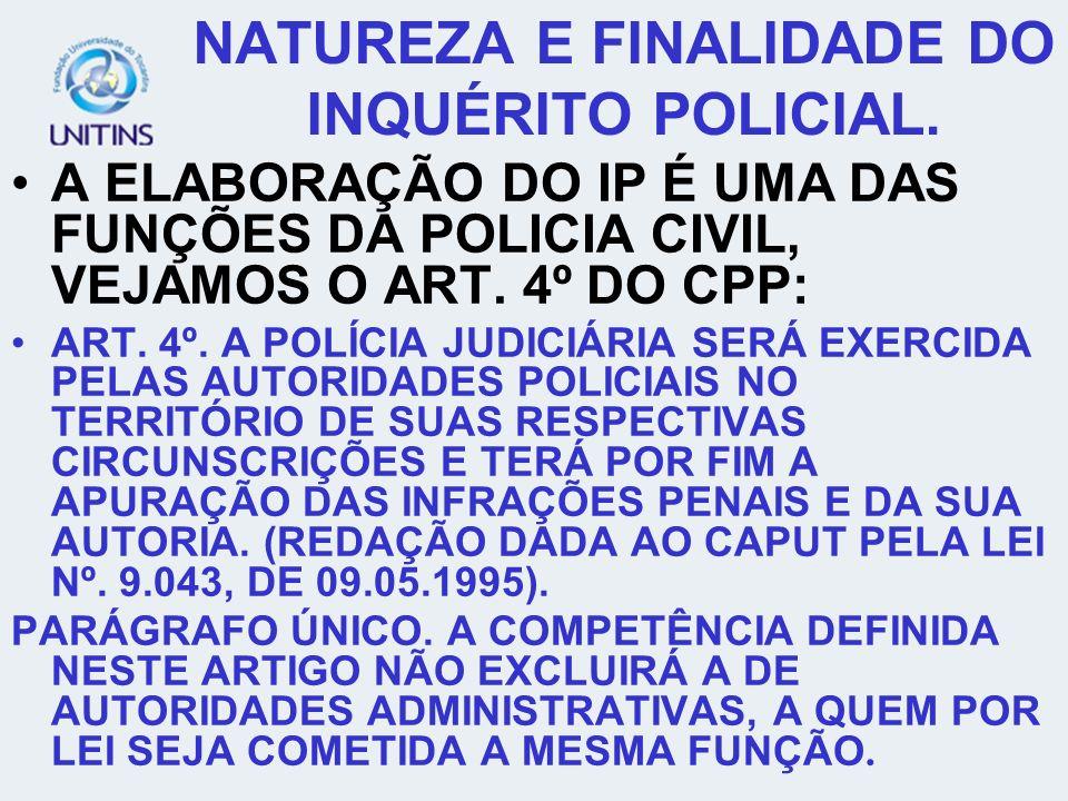 NATUREZA E FINALIDADE DO INQUÉRITO POLICIAL.