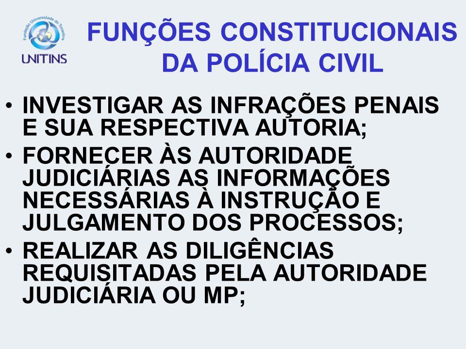 FUNÇÕES CONSTITUCIONAIS DA POLÍCIA CIVIL