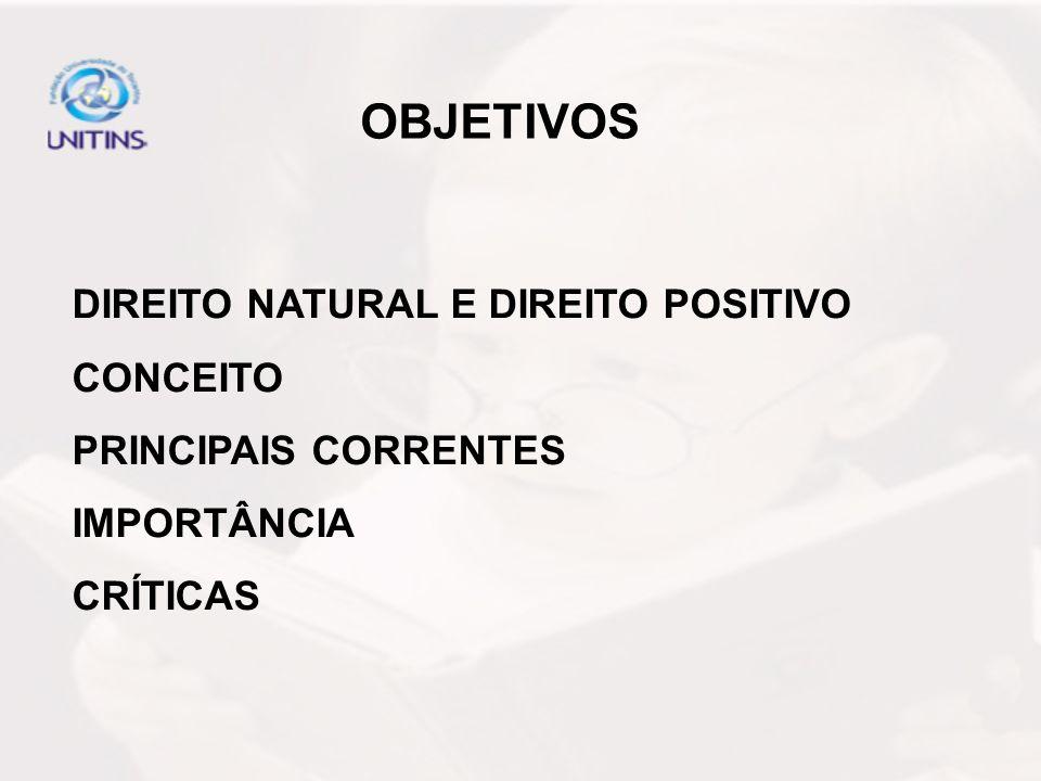 OBJETIVOS DIREITO NATURAL E DIREITO POSITIVO CONCEITO