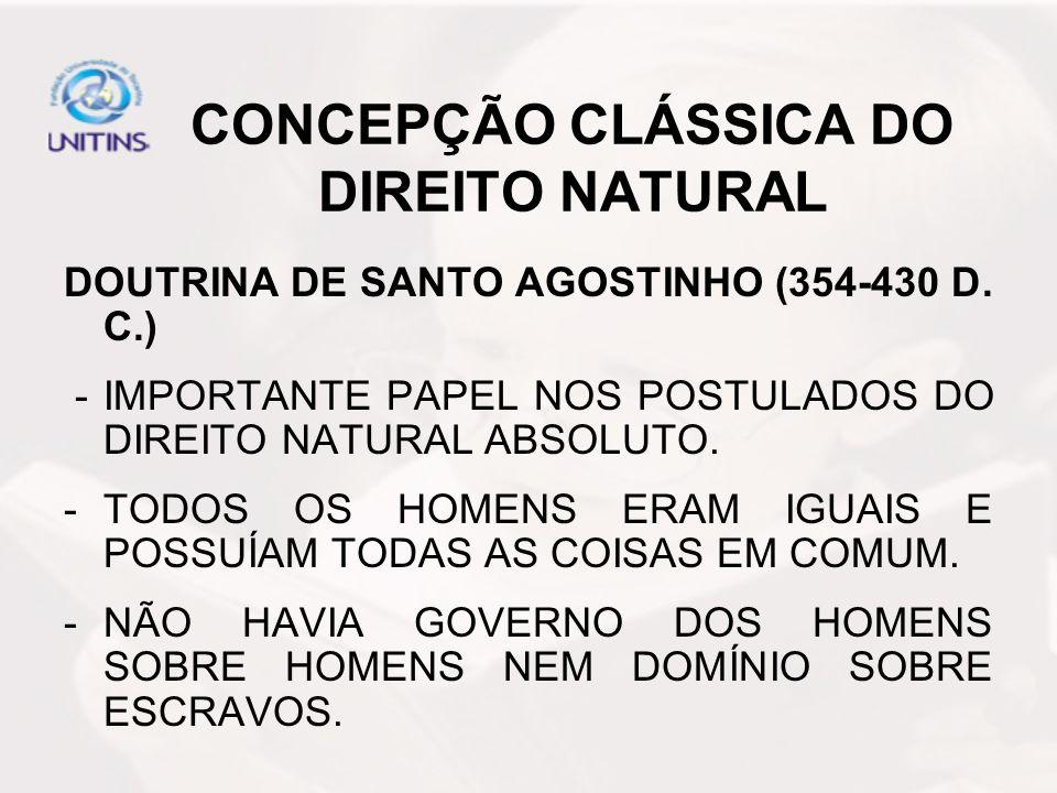 CONCEPÇÃO CLÁSSICA DO DIREITO NATURAL
