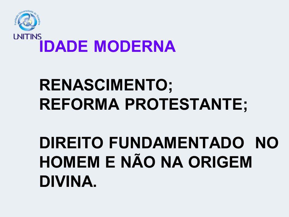 IDADE MODERNA RENASCIMENTO; REFORMA PROTESTANTE; DIREITO FUNDAMENTADO NO HOMEM E NÃO NA ORIGEM DIVINA.