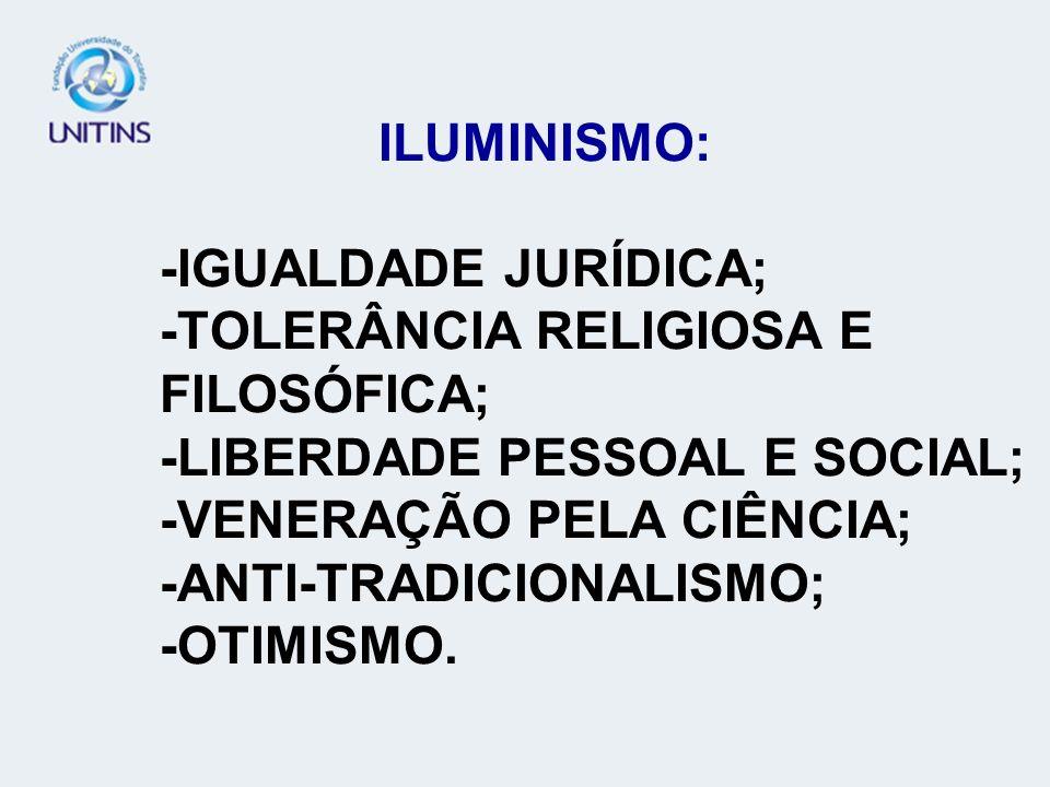 ILUMINISMO: -IGUALDADE JURÍDICA; -TOLERÂNCIA RELIGIOSA E FILOSÓFICA; -LIBERDADE PESSOAL E SOCIAL; -VENERAÇÃO PELA CIÊNCIA; -ANTI-TRADICIONALISMO; -OTIMISMO.